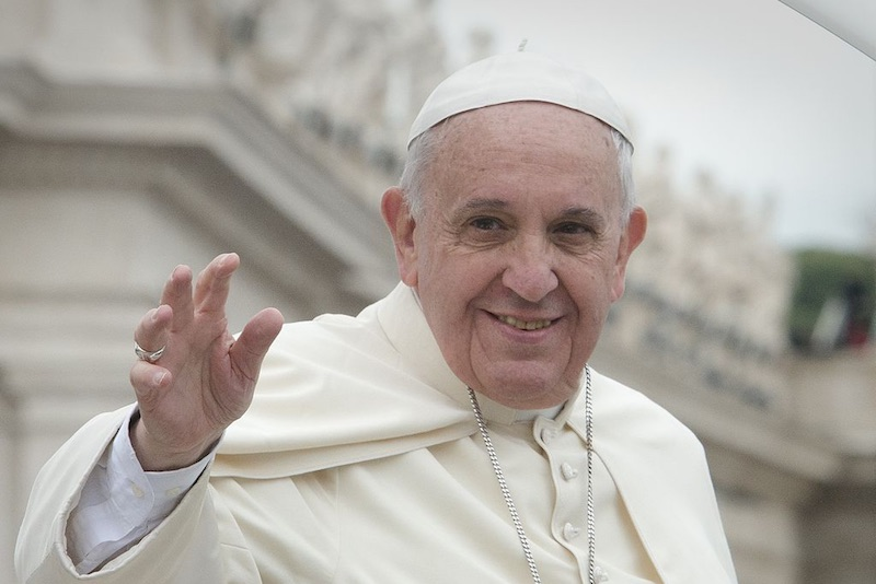 Pope Francis at the canonization of Saint John XXIII and Saint John Paul II
