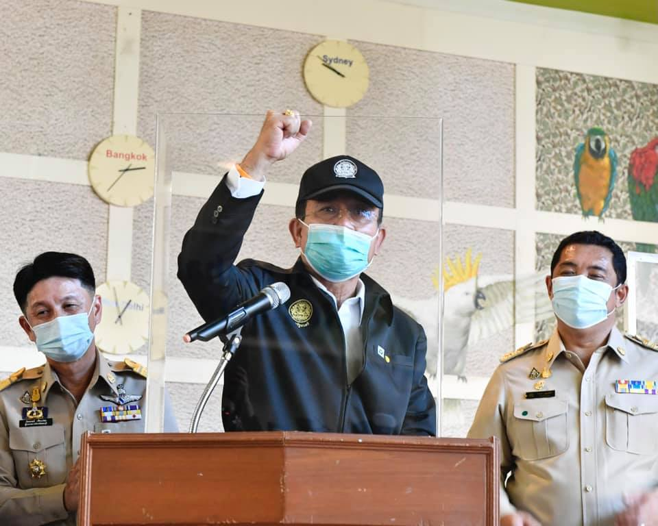 Thai PM Prayut on a visit during the COVID-19 coronavirus outbreak