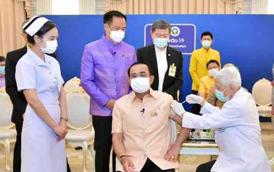 Prime Minister and Defence Minister Prayut Chan-o-cha receives the first jab of the COVID-19 vaccine from AstraZeneca on March 16th