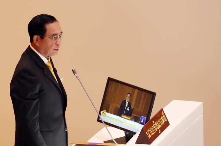 Prime Minister of Thailand Prayut Chan-o-cha during a public speech