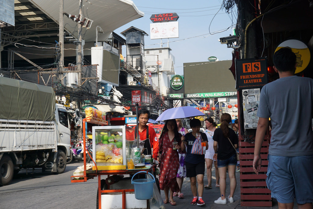 People walking on Bangla Road in Patong, Phuket