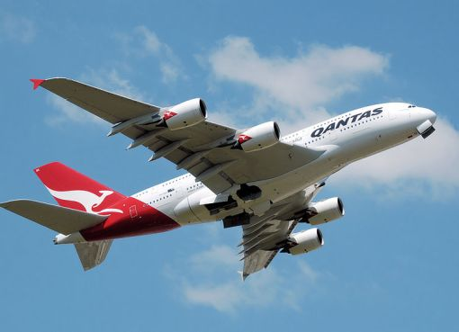 Qantas Airbus A380 takes off from London Heathrow Airport