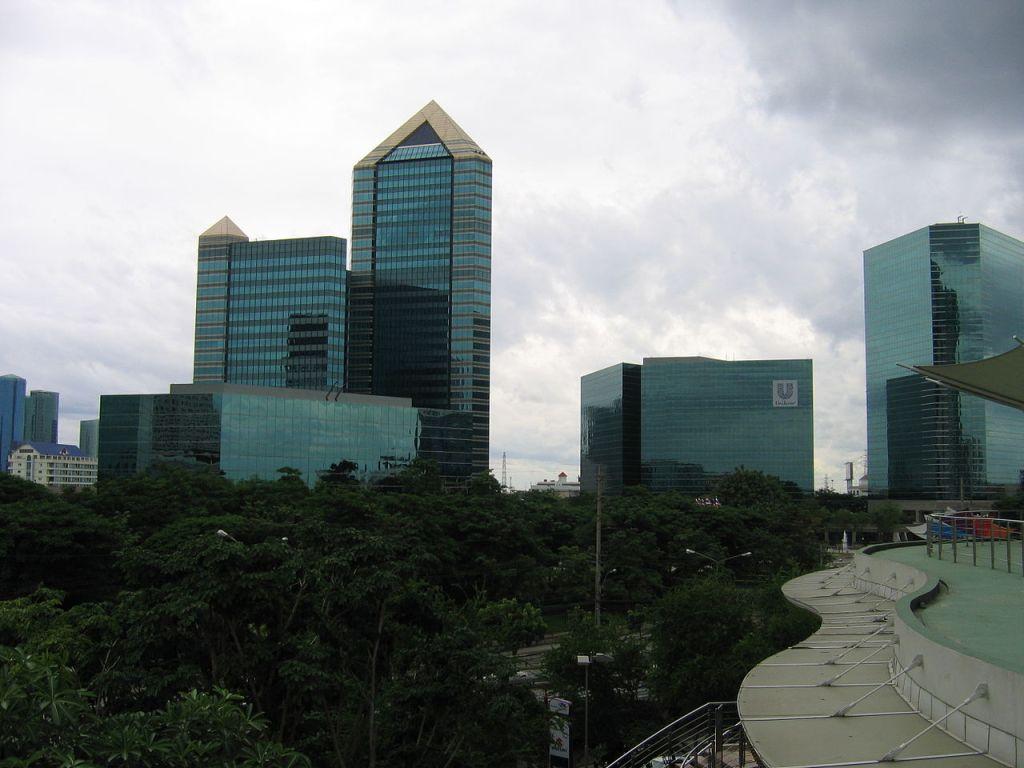 SCB Park Plaza in July, Bangkok, Thailand. HQ of Siam Commercial Bank in Bangkok