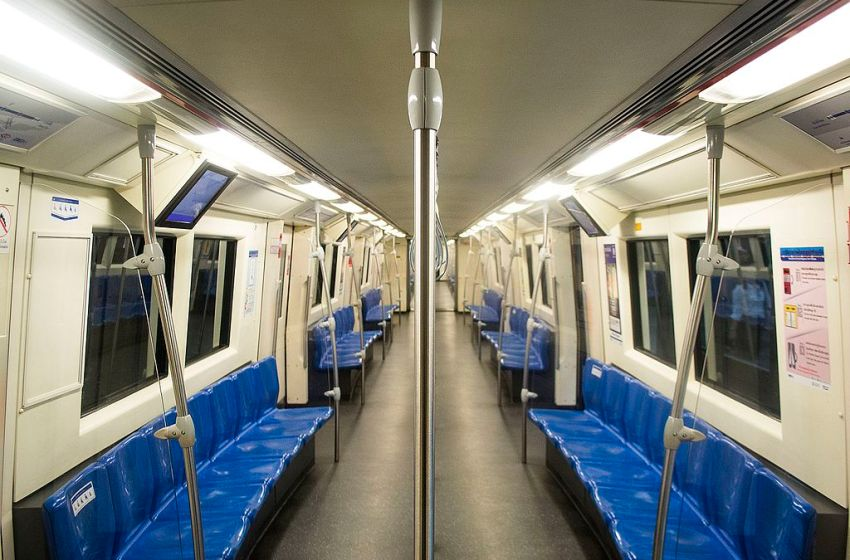 Inside a train of Bangkok's MRT Blue Line