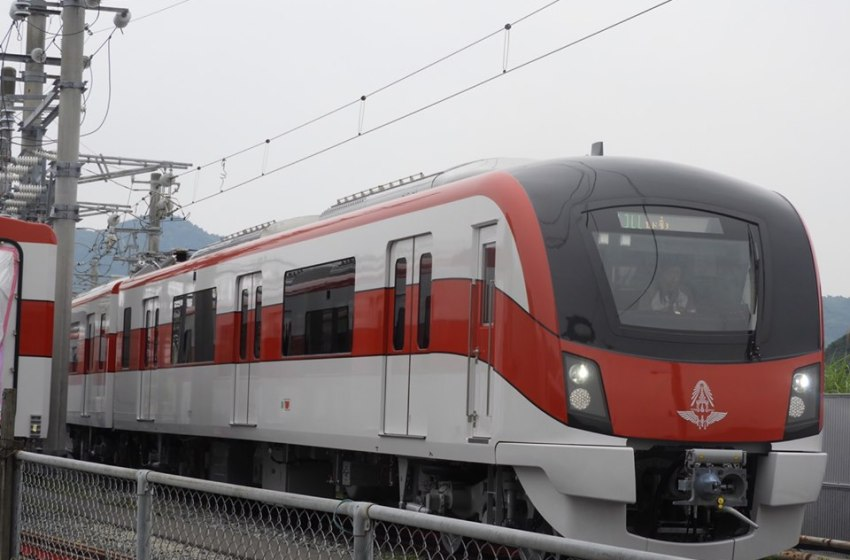 Hitachi Red Line Electric Train from assembly plant in Japan