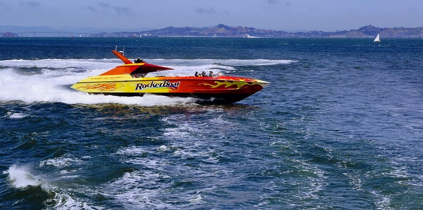 Red and yellow speedboat