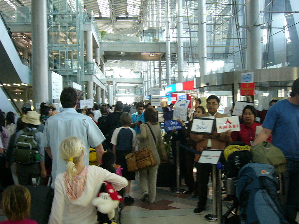 Arrival area at the Passenger terminal of Bangkok Suvarnabhumi International Airport, Samut Prakan