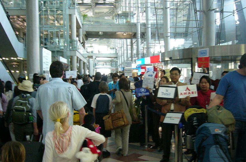 Arrival area at the Passenger terminal of Bangkok Suvarnabhumi International Airport, Samut Prakan