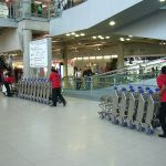 Luggage trolleys at Suvarnabhumi International Airport