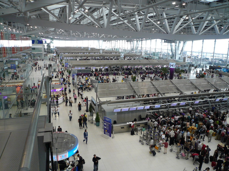 Departures terminal at Suvarnabhumi Airport in Bangkok