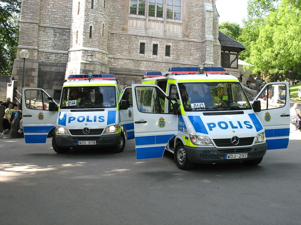Two vans of the Swedish Police in Stockholm