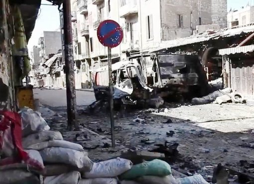 Bombed vehicles in Aleppo, Syria
