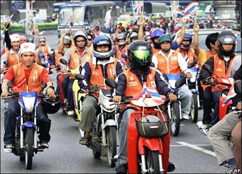 Motorbike taxis in Bangkok, Thailand