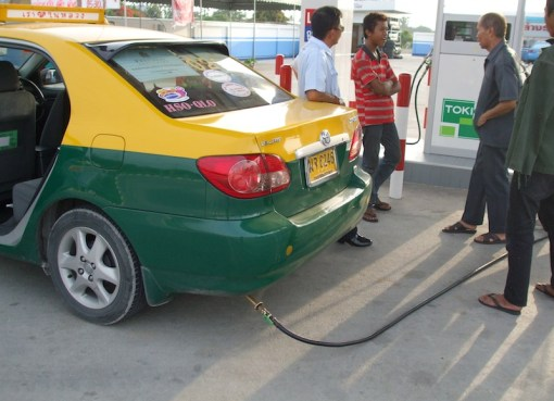 Taxi at gas station in Thailand