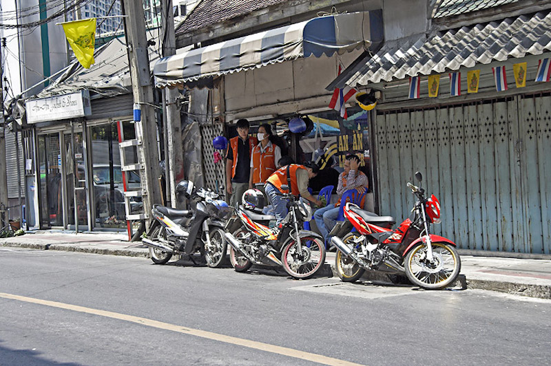 Parked motorcycles on the street
