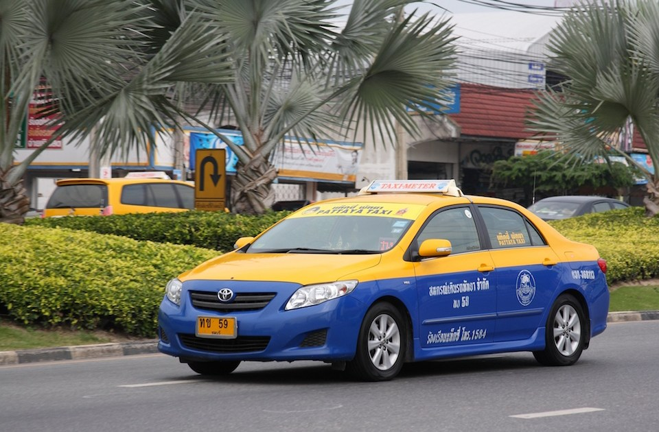 Blue and yellow taxi-meter in Pattaya, Chonburi province
