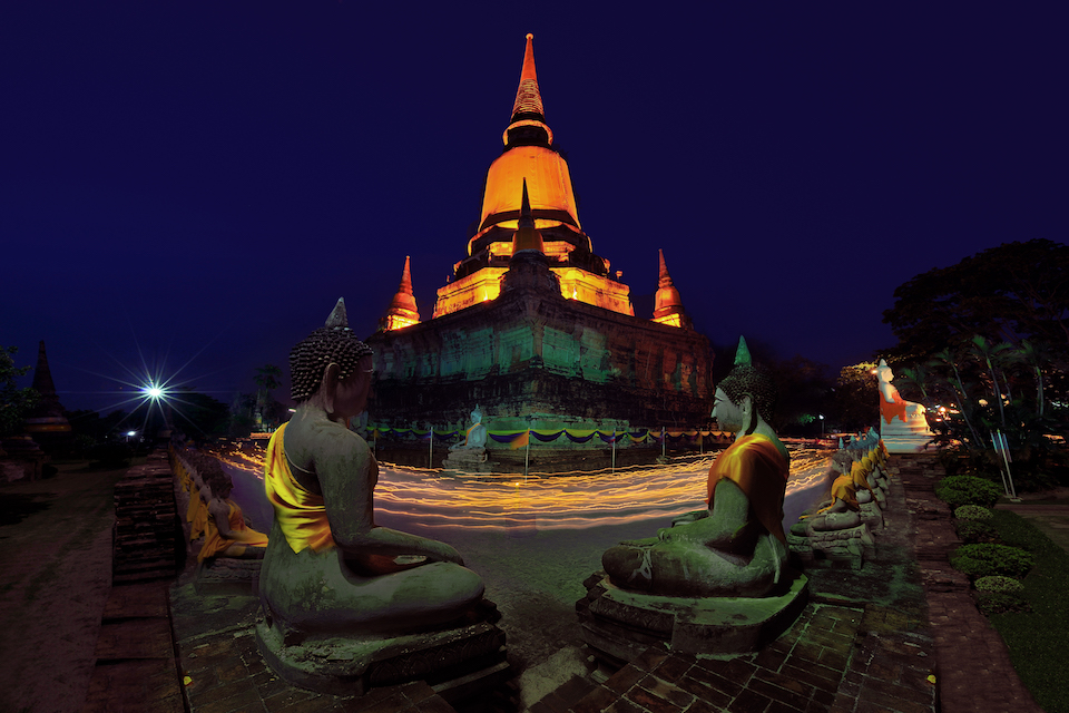 Vesak day ceremony at Wat Yai Chaimongkhol Temple in Ayudtaya
