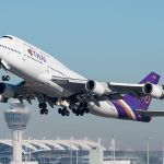 Thai-Airways Boeing 747-4D7 taking off at Munich Airport