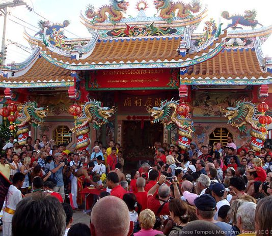 Buddhists celebrating the Chinese New Year at Maenam temple in Koh Samui.
