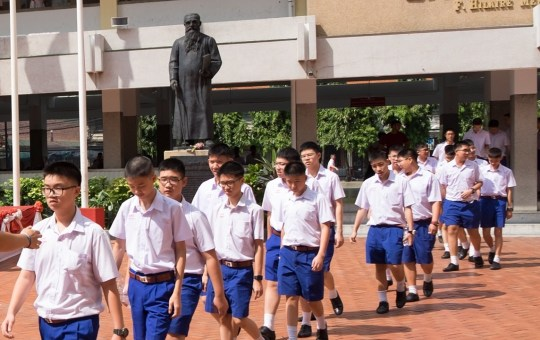 Thai male students of Level 2 (lower secondary education) at school