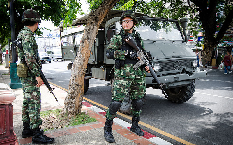 Thai military at Chang Phueak Gate in Chiang Mai