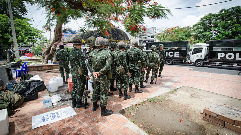 Thai soldiers at Chang Phueak Gate in Chiang Mai