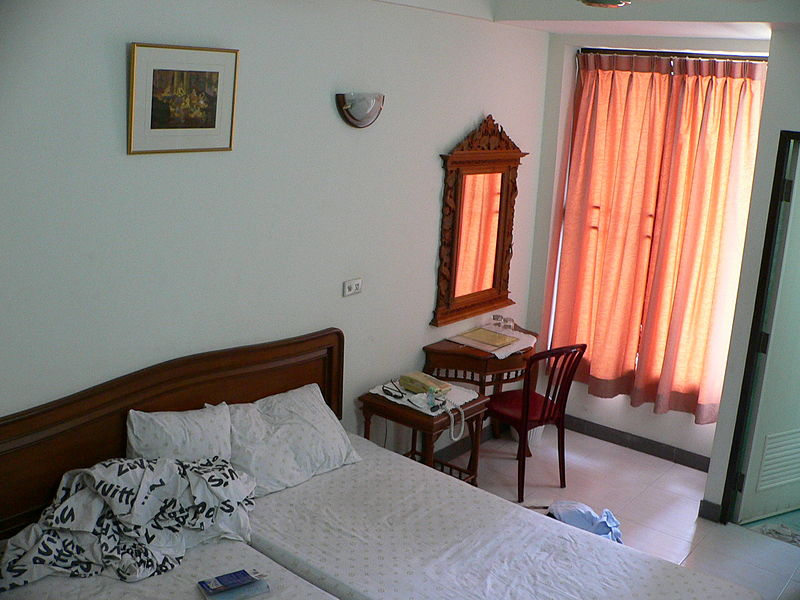 Budget hotel room in Khao San Road