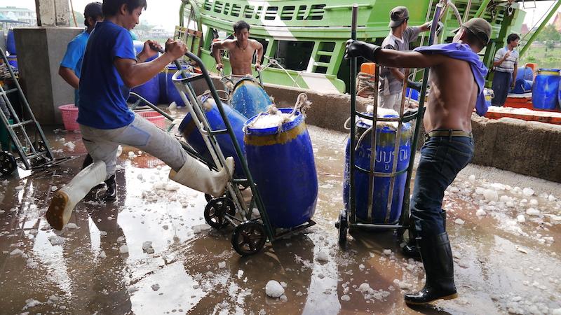 Burmese migrant dock workers in Thailand