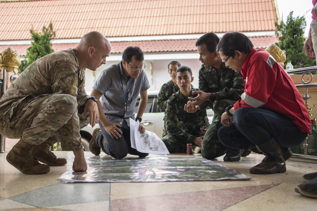 Airmen from the U.S. Indo-Pacific Command meet with Thai military officials and a Thai engineering company in Chiang Rai