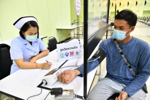 Blood pressure measurement before get the COVID-19 vaccine at The Mall Bangkapi in Bangkok