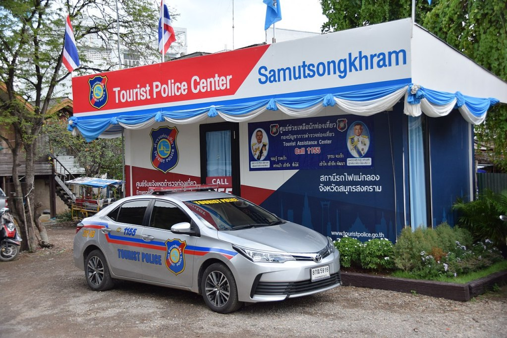 Tourist police car at Samut Songkhram Tourist police Center