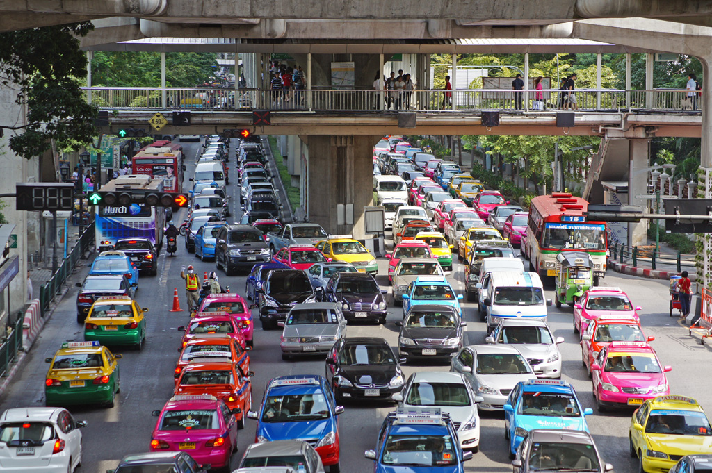 Traffic jam next to Siam Paragon in Bangkok
