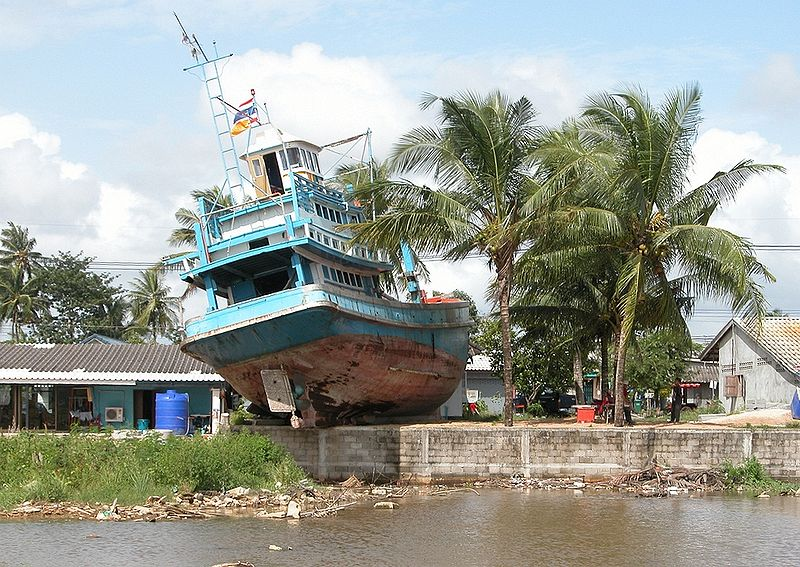 When the 2004 tsunami struck, the boat was swept inland