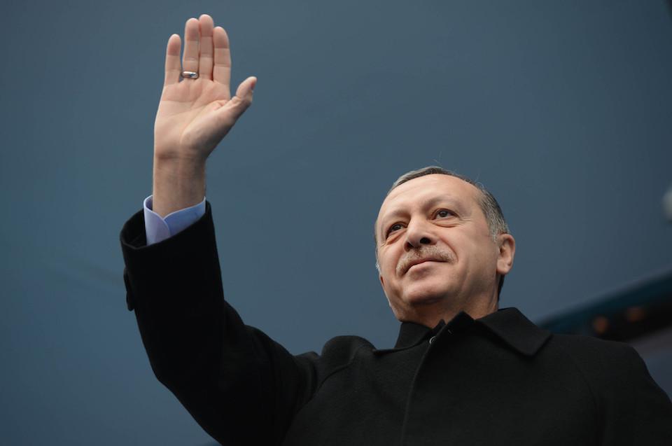AK Party Chairman and Prime Minister Recep Tayyip Erdogan, at the Republic Square in Kırklareli