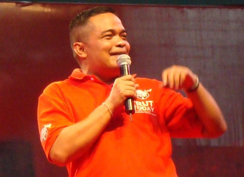 Red Shirts UDD leader Jatuporn Prompan at Rajamangala Stadium.