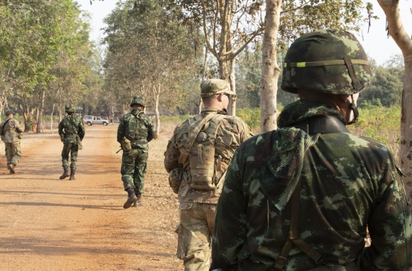 Soldiers with 5th Battalion, 20th Infantry Regiment, and the Royal Thai Army conduct a dismounted patrol during counter-IED training Jan. 30, 2019, at Camp Nimman Kolayut, Thailand