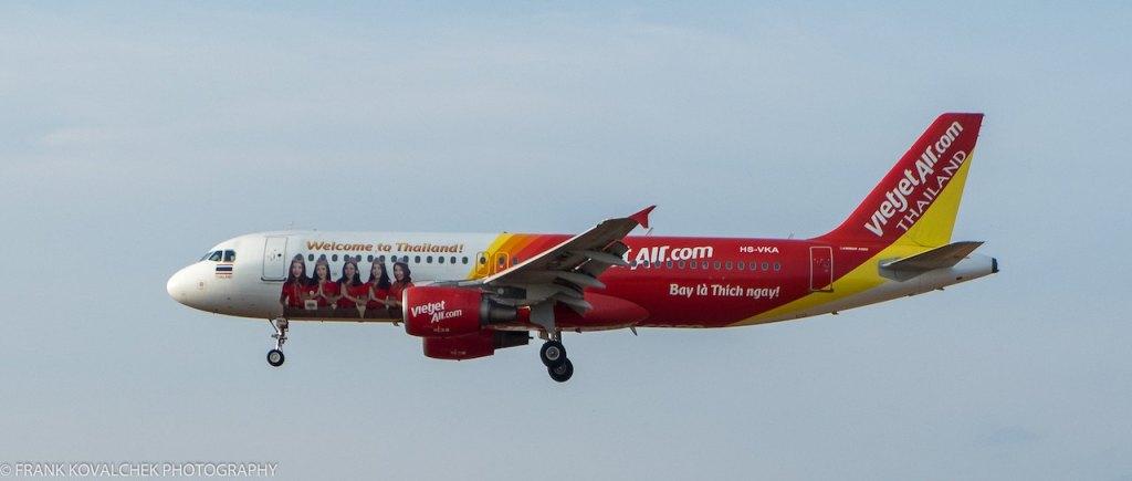 Vietjet Air Airbus A-320 landing at Phuket Airport