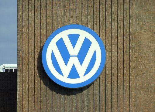 Volkswagen logo in the Wolfsburg factory