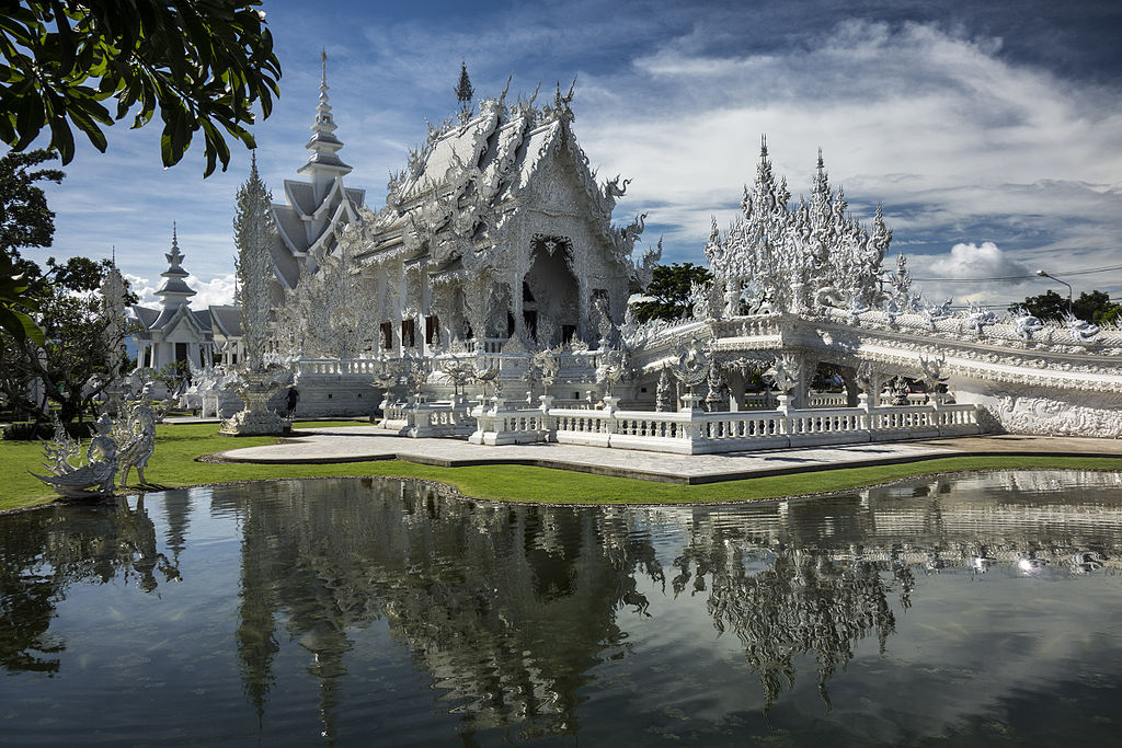 Wat Rong Kuhn, also known as the White Temple is a popular tourist attraction in Chiang Rai, northern Thailand