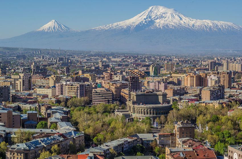 Yerevan, the economic and cultural centre of Armenia and the Mount Ararat