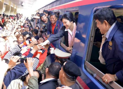Yingluck Shinawatra during a visit to northeastern Thailand