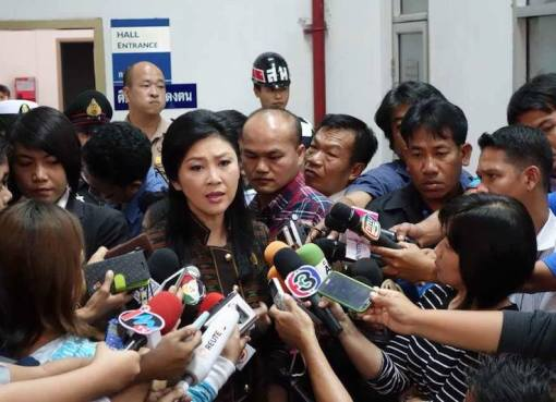 Yingluck Shinawatra during a press briefing