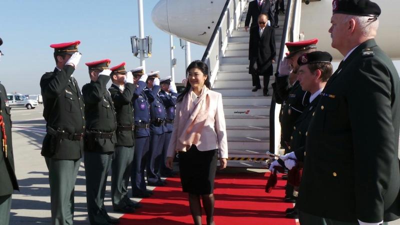 Yingluck Shinawatra during a visit
