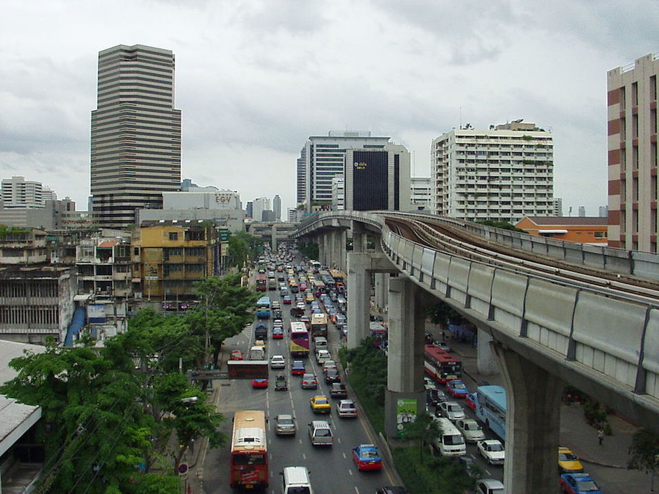 View of a traffic jam in the center of Bangkok from Ratchathewi BTS Skytrain station