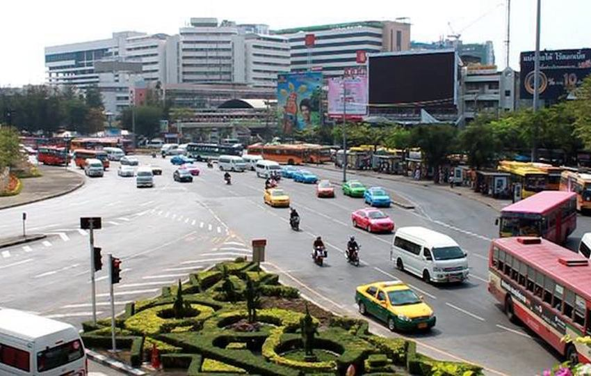 Traffic at the Victory Monument in Bangkok