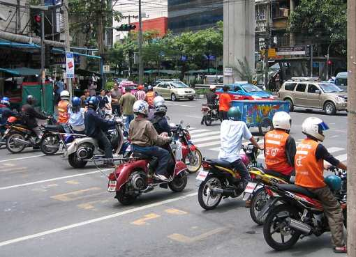Motorbikes on a street in Bangkok