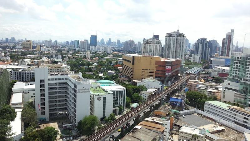 Wide-angle cityscape shot of Bangkok