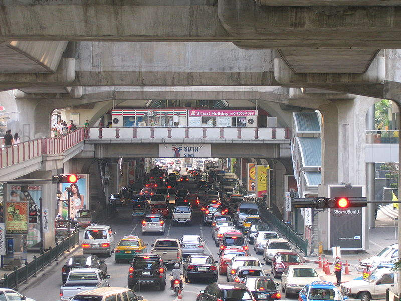 Siam BTS station and Rama I Road traffic in Bangkok