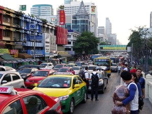 Traffic jam in central Bangkok