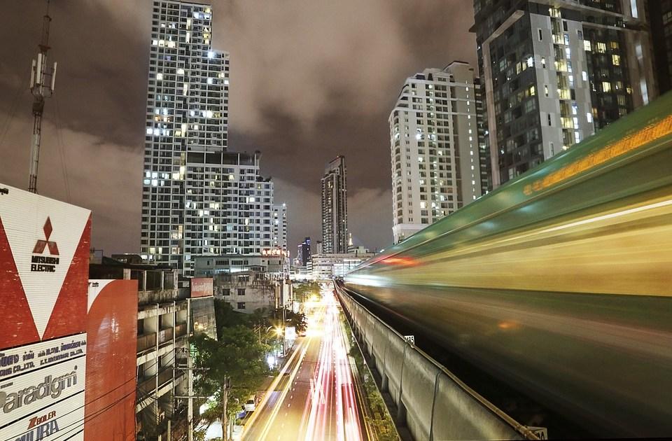 Amazing view of Bangkok BTS Skytrain at night
